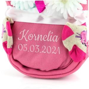 kocyk różowy z haftem imienia