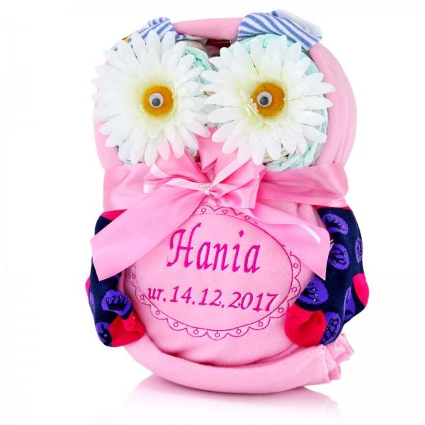 prezent dla dziecka sowa z pampersów z haftem imienia