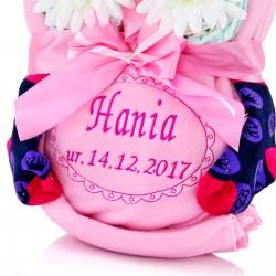 haftowana sowa z pampersów na prezent na narodziny