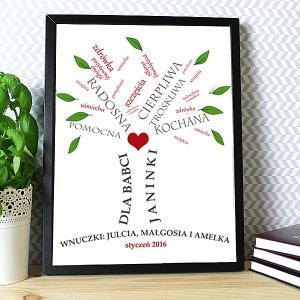 drzewo życzeń w ramie dla babci