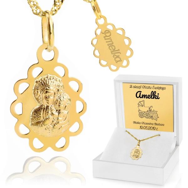 złoty medalik matka boska częstochowska w pudełku z grawerem na prezent na chrzciny