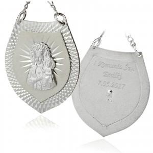 srebrny ryngraf z grawerem na komunię