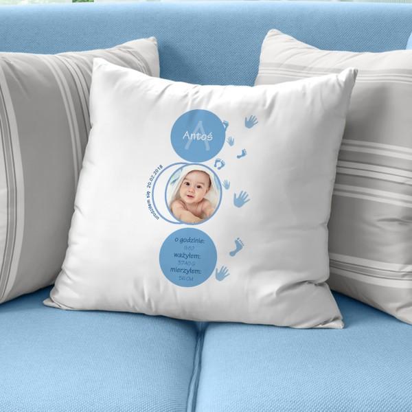 poduszka z metryczką i zdjęciem dla dziecka