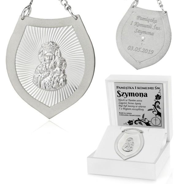 prezent z okazji komunii świętej srebrny ryngraf w pudełku z dedykacją
