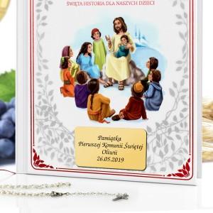 pamiątka komunijna biblia z dedykacją