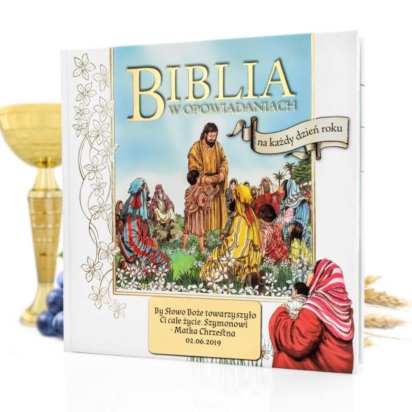 biblia dla dzieci na komunię z dedykacją