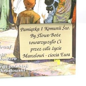 grawerowana dedykacja z okazji I Komunii na biblii