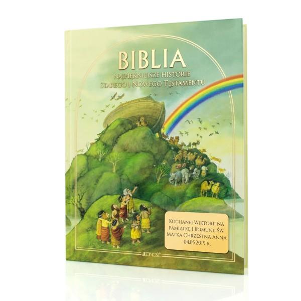 biblia dla dzieci z grawerem na pierwszą komunię