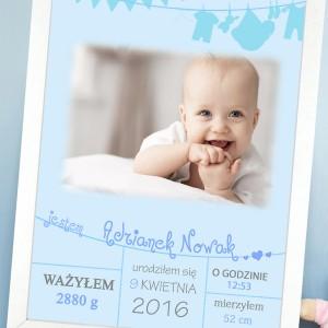 plakat metryczka z personalizacją i zdjęciem na prezent dla dziecka