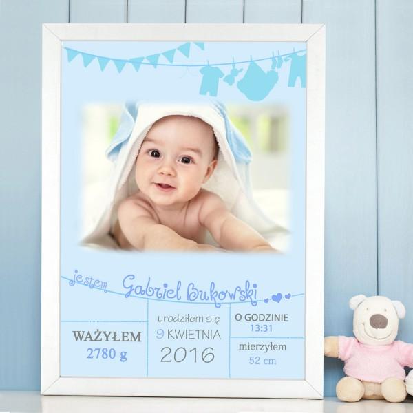 metryczka dziecięca w ramie ze zdjęciem na prezent