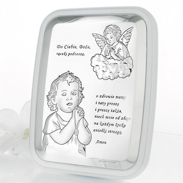 srebrny obrazek na chrzciny