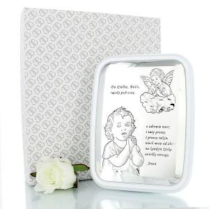 prezent na chrzest - srebrny obrazek z grawerem
