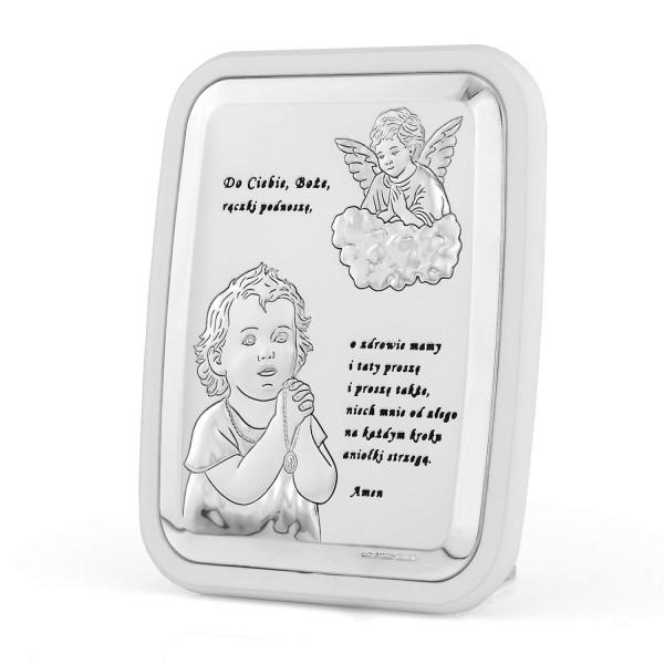 srebrny obrazek na pamiątkę na chrzest