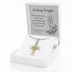 srebrny krzyżyk na prezent na komunię