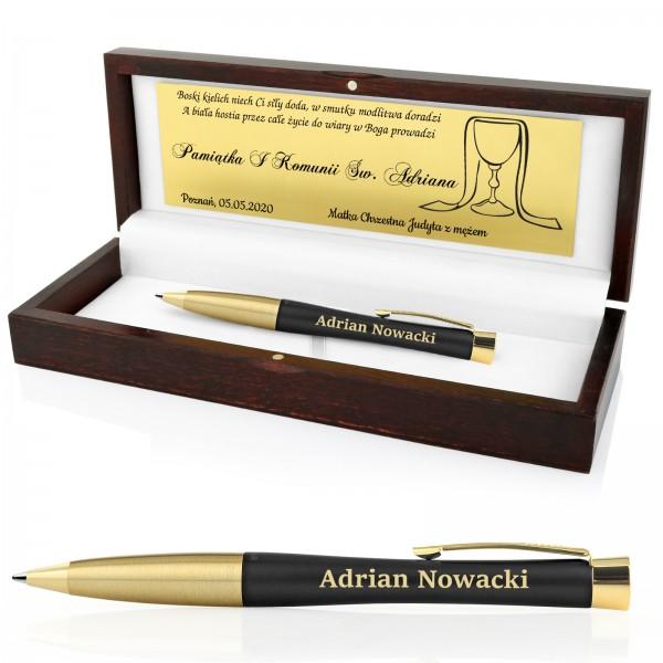 grawerowany długopis Parker Urban Muted Black Gt z grawerem na prezent na komunię