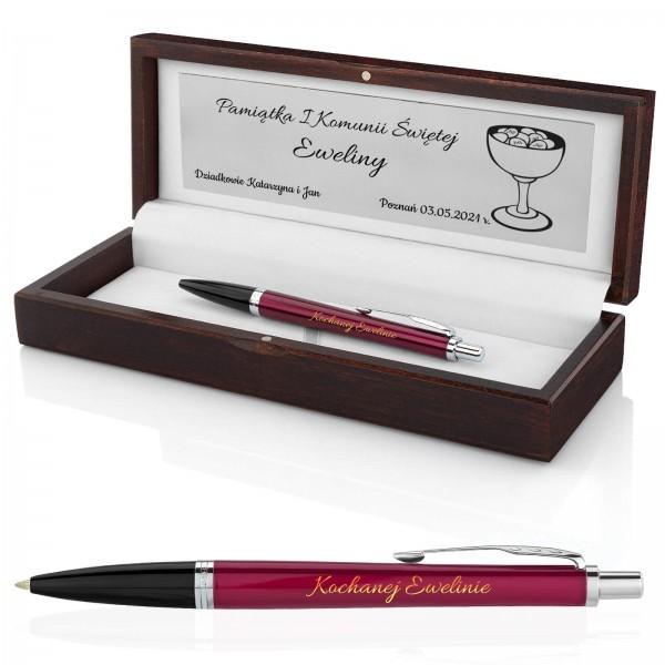 grawerowany długopis parker fashion w pudełku na komunię