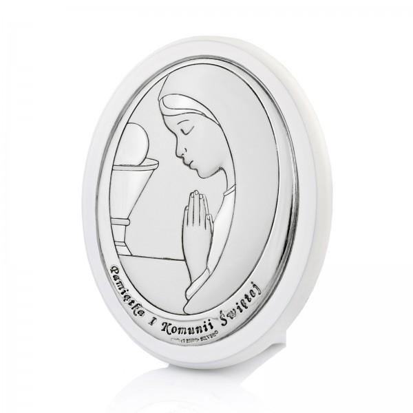srebrny obrazek z grawerem na komunię
