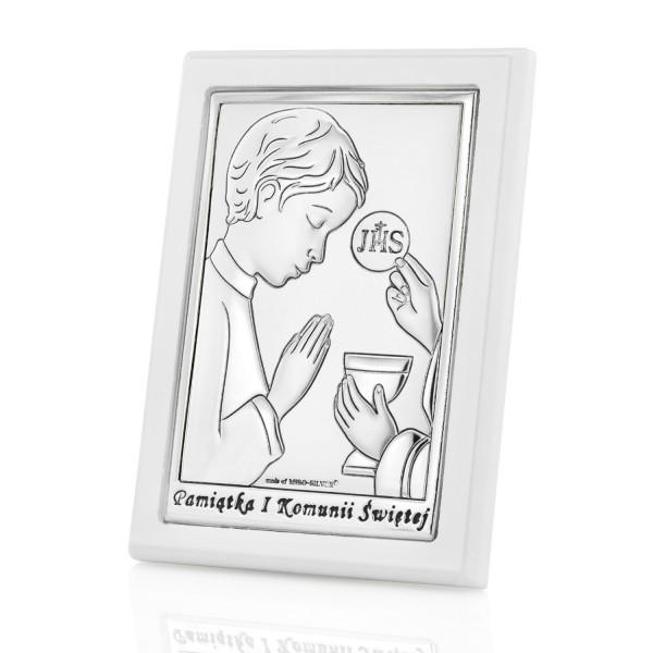 obrazek srebrny z grawerem na prezent na komunię dla chłopca