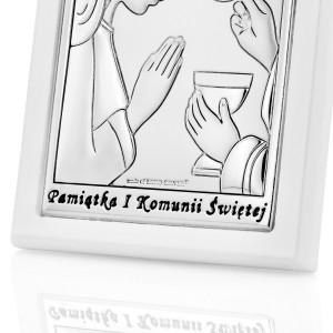 obrazek srebrny na pamiątkę pierwszej komunii świętej