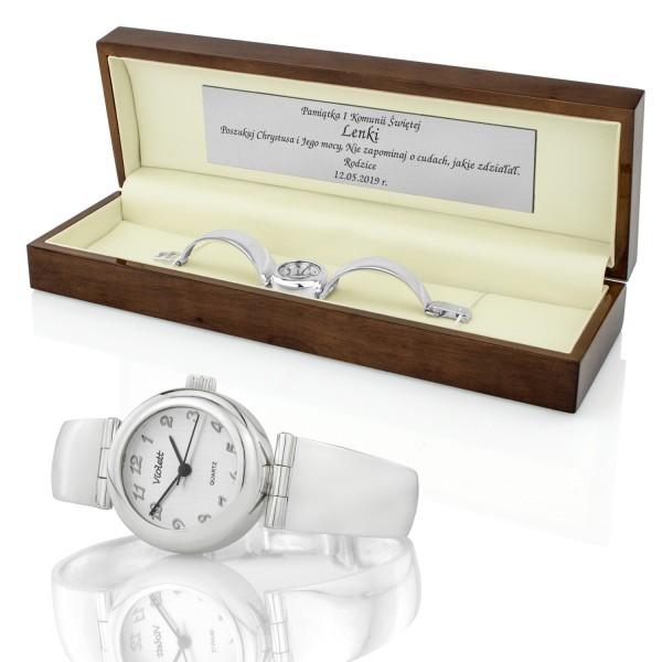 zegarek na komunię dla dziewczynki w pudełku z grawerem