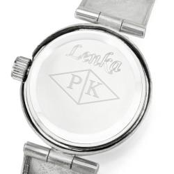 srebrny zegarek na komunię z grawerem