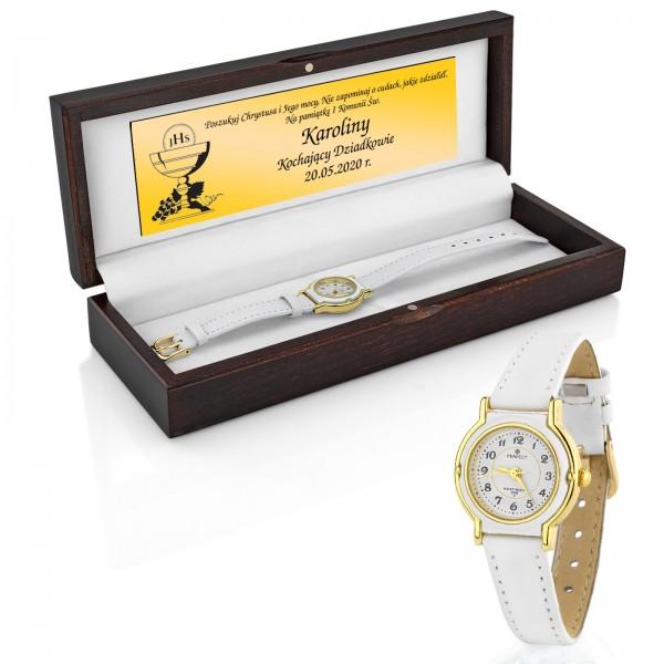 biały zegarek dla dziewczynki na pamiątkę komunii świętej