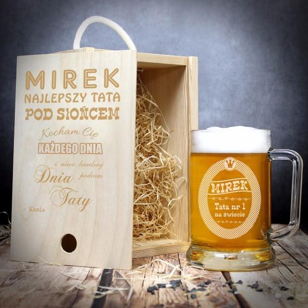 kufel do piwa w drewnianej skrzynce - prezent na Dzień Taty