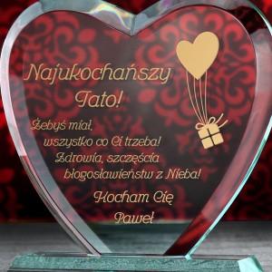statuetka serce z grawerem na prezent dla taty