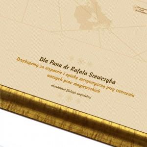 personalizowana mapa świata na podziękowania dla promotora