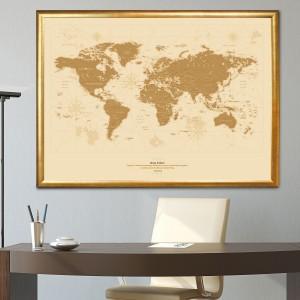 elegancki prezent dla szefowej mapa świata z dedykacją