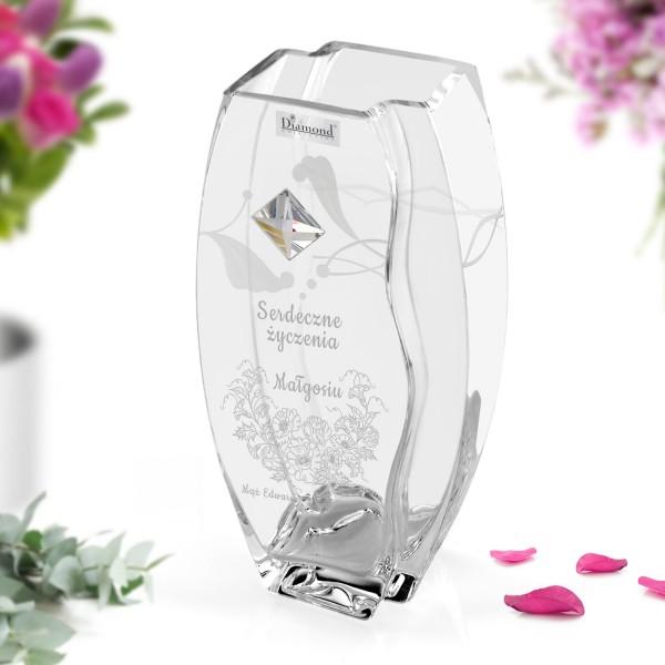 personalizowany wazon z kryształem Swarovski na prezent dla imieniny