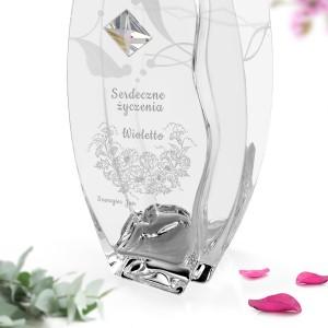 grawer dedykacji na wazonie z kryształem Swarovskiego na prezent na urodziny lub rocznicę