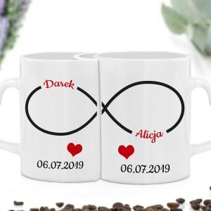 kubki do kawy z dedykacją na prezent ślubny nieskończoność
