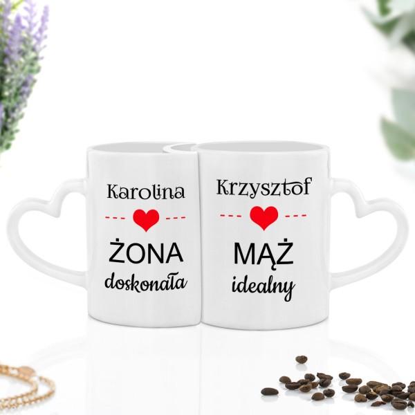 zestaw kubków do herbaty z nadrukiem imion na prezent na ślub