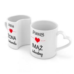 kubki z imionami na prezent dla nowożeńców