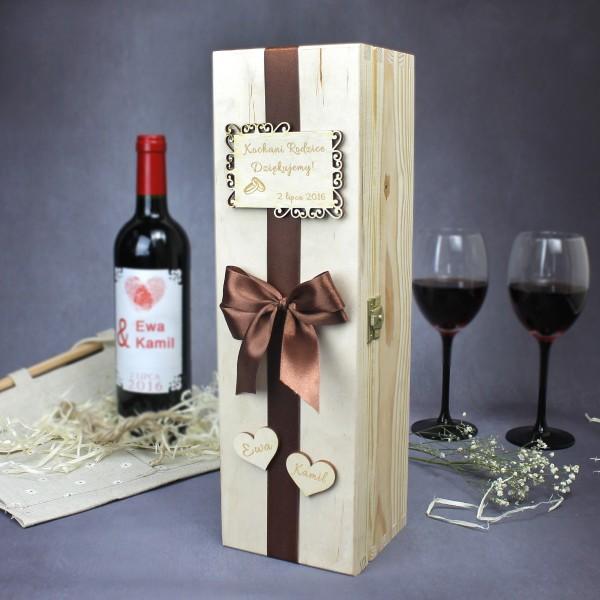 grawerowana skrzynka na wino dla rodziców
