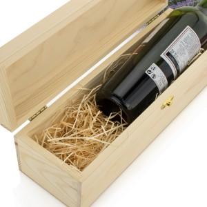 drewniana skrzynka na wino na podziękowania dla rodziców