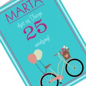 kartka urodzinowa z kolorowym nadrukiem zdjęcia i personalizacji