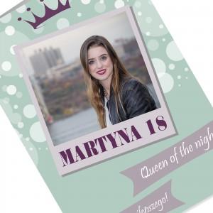 kartka urodzinowa na 18 z kolorowym nadrukiem zdjęcia i personalizacji