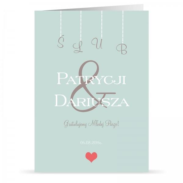 spersonalizowana kartka z okazji ślubu z dedykacją