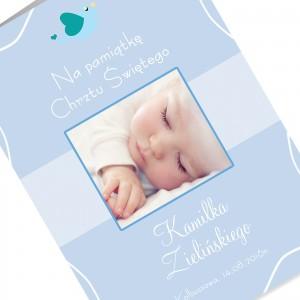 kartka okolicznościowa z okazji chrztu z nadrukiem personalizacji i zdjęcia