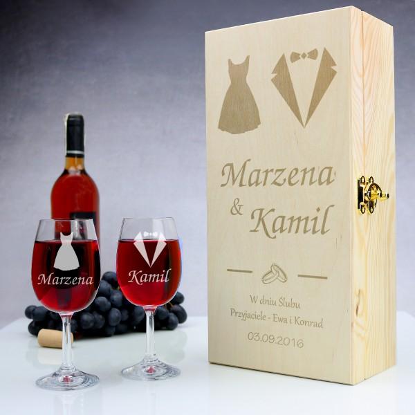 skrzynka na wino z okazji ślubu