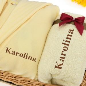 szlafrok i ręcznik z haftem imienia