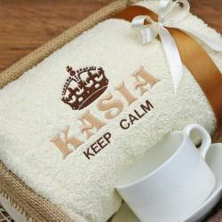 haftowany ręcznik na prezent dla żony