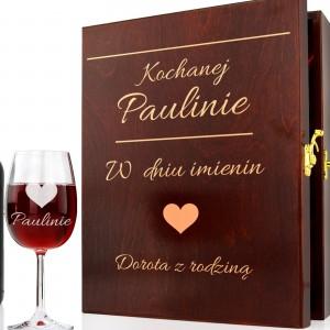 skrzynka na butelkę wina z kieliszkami