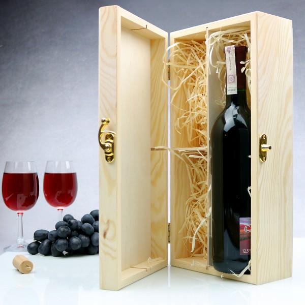Unikalne Drewniana skrzynka na wino z dwoma kieliszkami + GRAWER XJ01