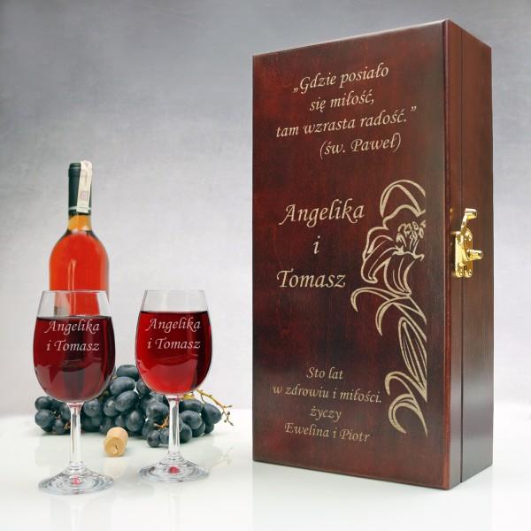 skrzynka na wino z okazji rocznicy