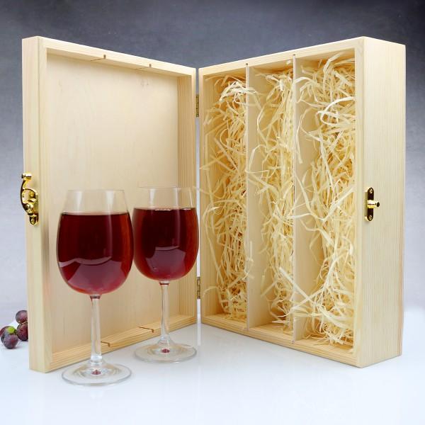 Ogromny Drewniana skrzynka na wino z grawerem i kieliszkami VU47