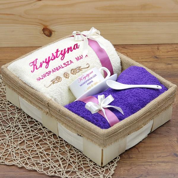 849ffd40b15a2c Zestaw prezentowy + dowolne imię: ręczniki z filiżanką