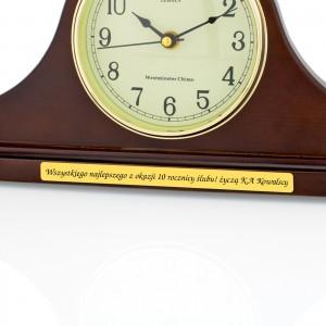 drewniany zegar kominkowy